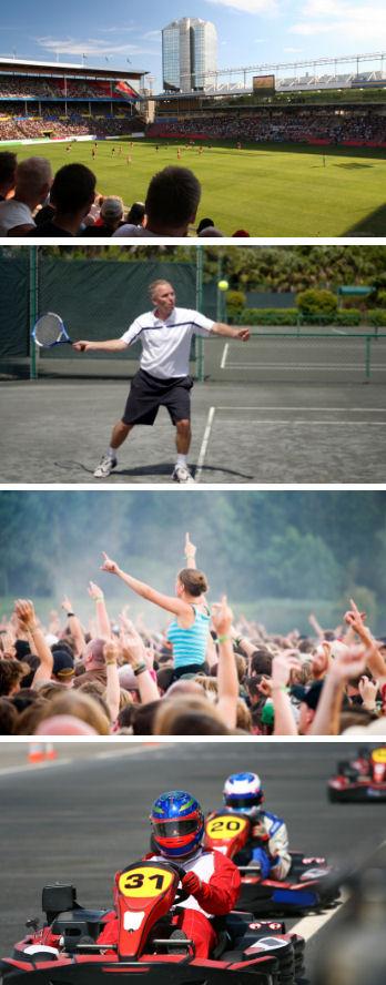 Beispiele Sport- und Freizeitlärm (Stadion, Tennisspieler, Konzert, Kartfahrer)